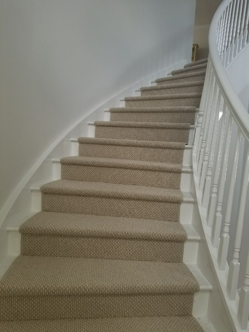 Southwind Carpet Mills Berber Starlight Cottonfield Carpet Was Bound On The Sides And Installed As A Runner Carpet Installation Types Of Carpet Staircase