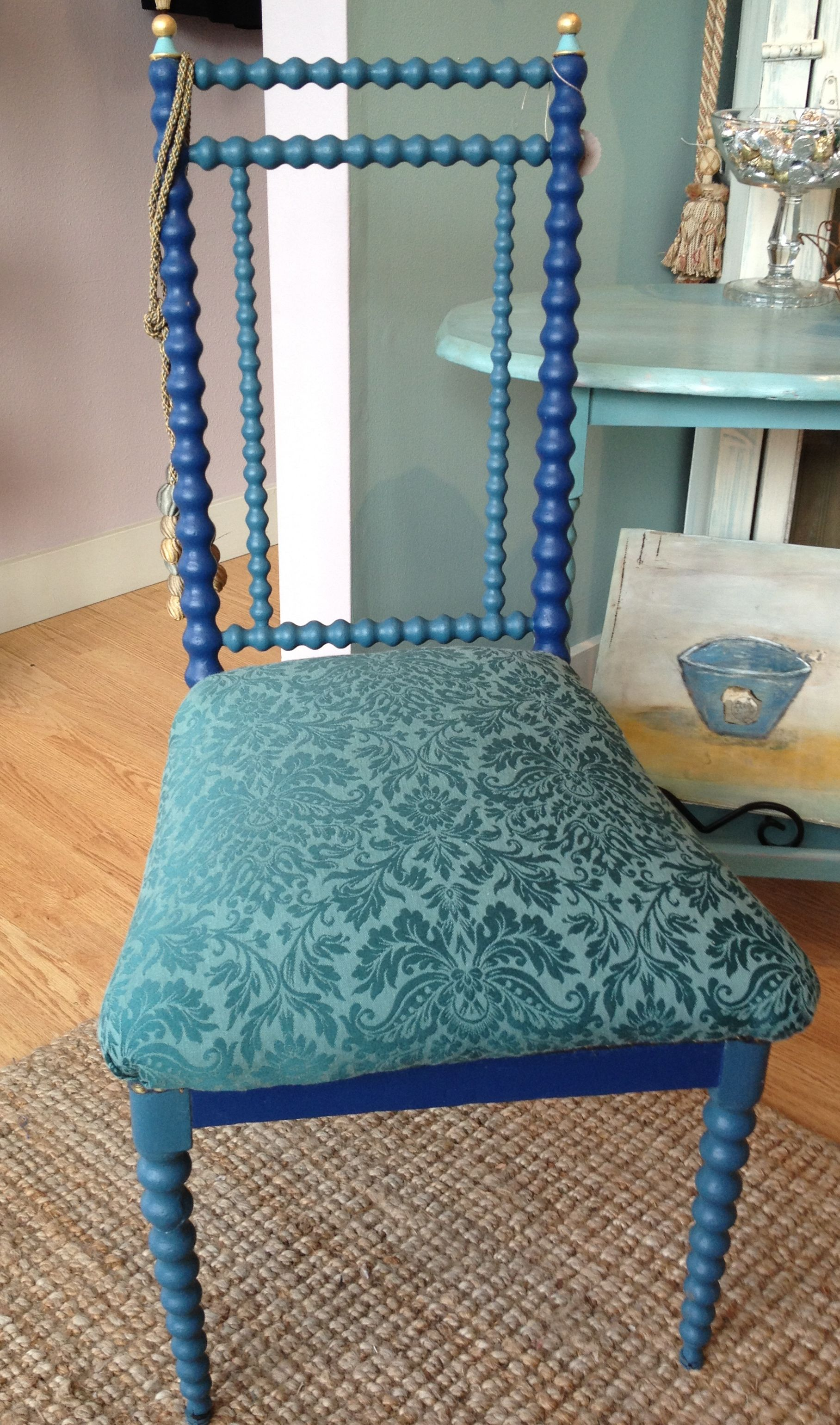 Spool chair with Napoleonic Blue and Aubusson Blue and a touch of