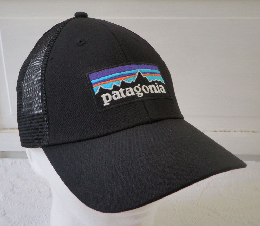 Patagonia P6 Lopro Trucker Hat Black Snapback Fitz Roy Logo