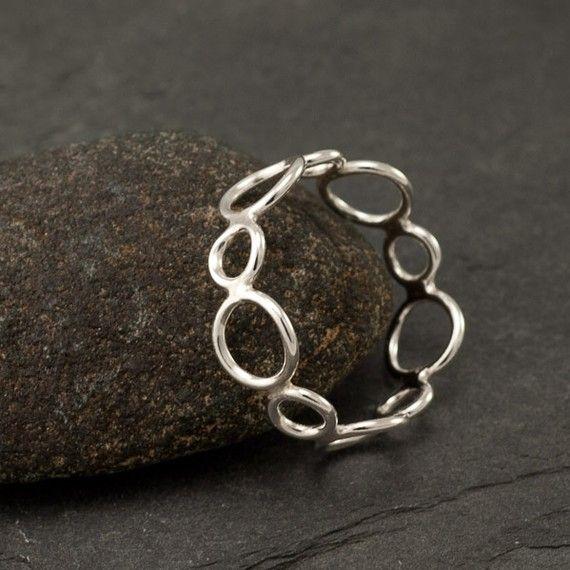 Handmade Sterling Silver Ring -Silver Circles Ring- Circle Ring Band ...