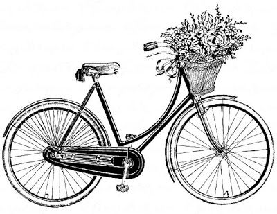 Vintage Bicycle With Basket Of Flowers Fahrrad Zeichnung
