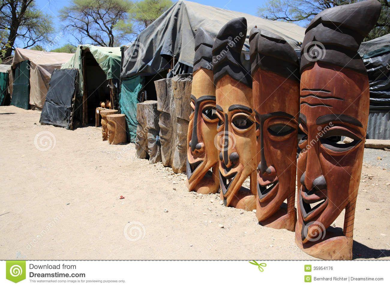 Africa Masks - Okahandja , mercado de artesanía, y pueblo herero