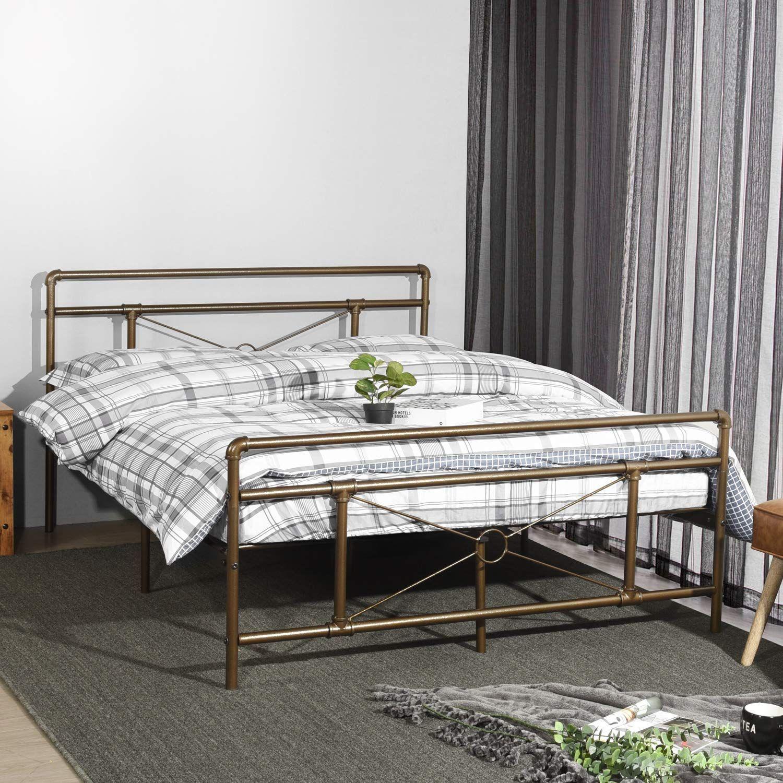 Amazon Com Greenforest Metal Bed Frame Bronze Queen Size Platform