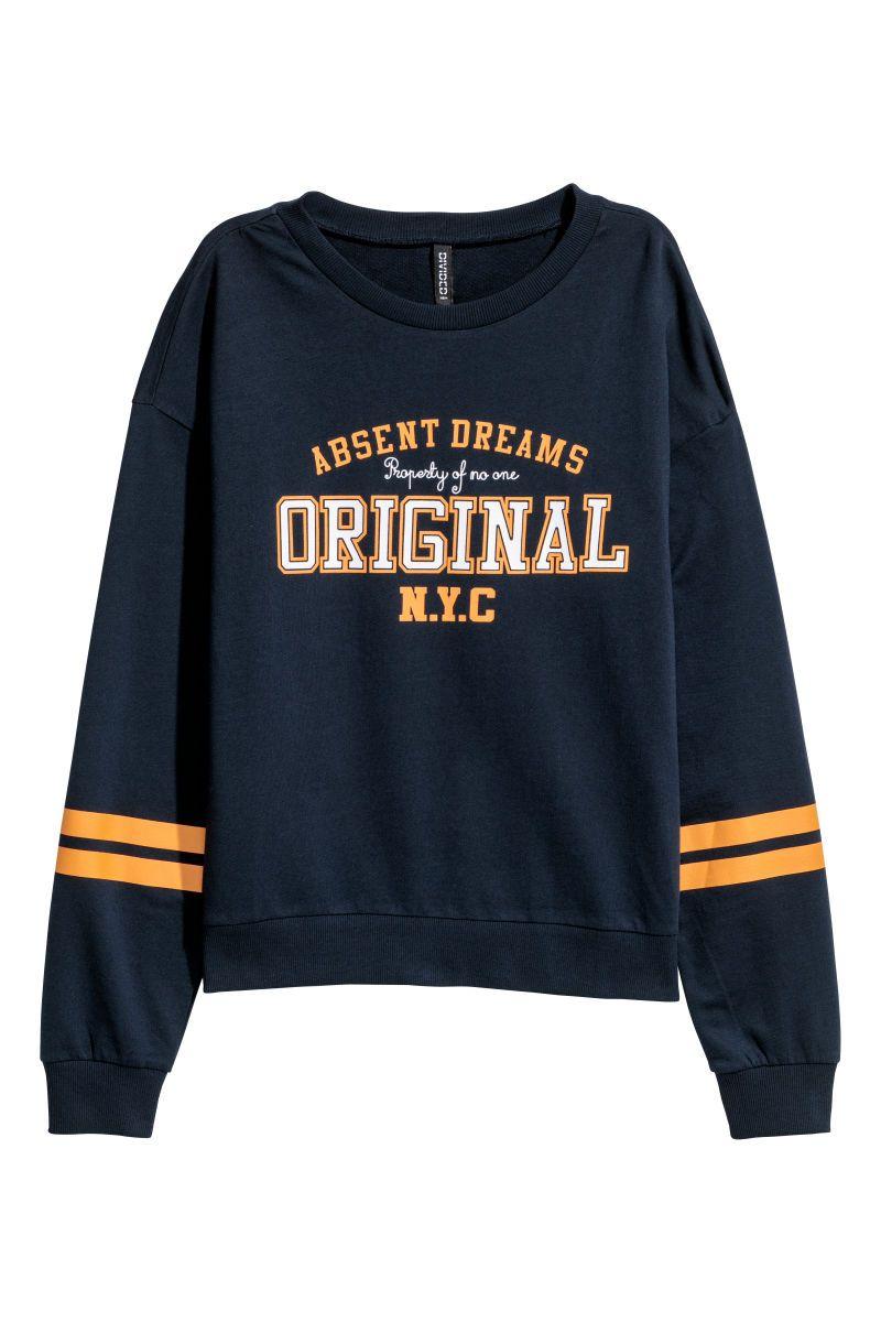 Sweatshirt With Printed Design Dark Blue Original Women H M Us Printed Sweatshirts Sweatshirts Block Clothes [ 1200 x 800 Pixel ]