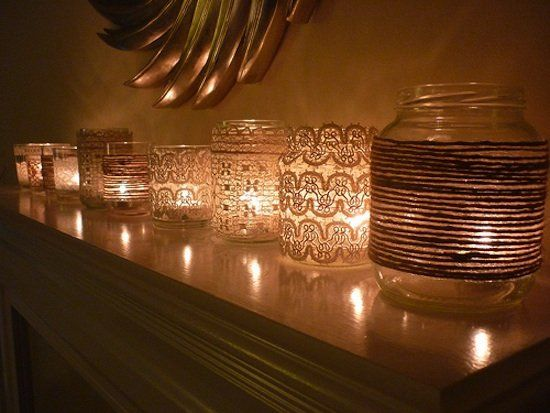 DIY Votives With Lace