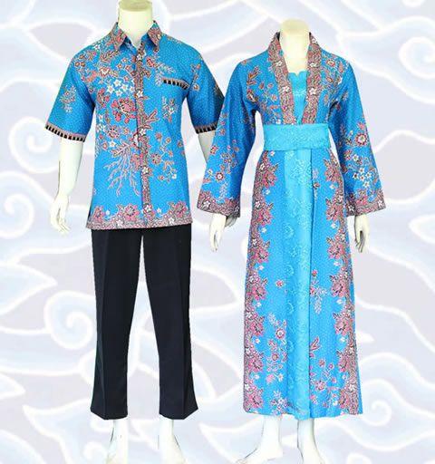 gamis batik couple modern warna biru kode SGM163 di http