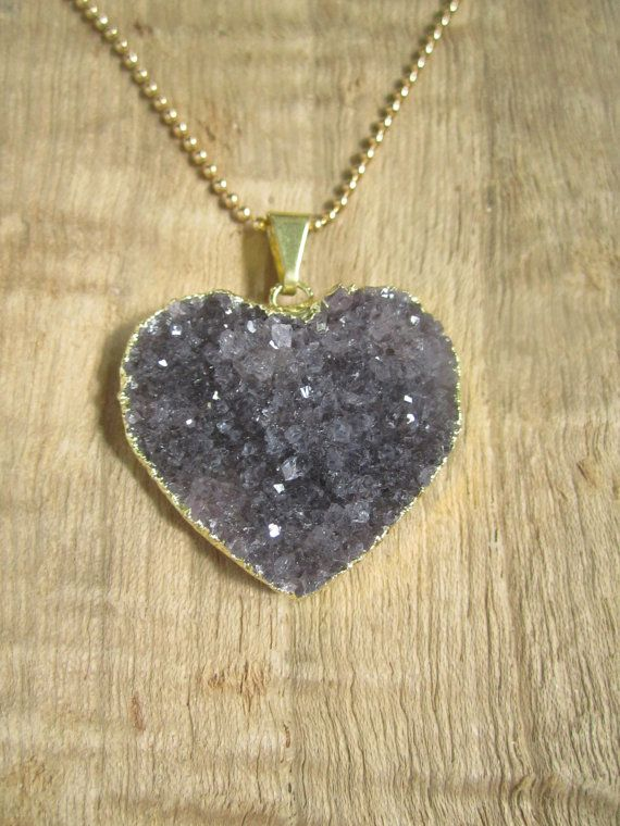 Amethyst Druzy Necklace Drusy Quartz Heart 14K by julianneblumlo, $86.00