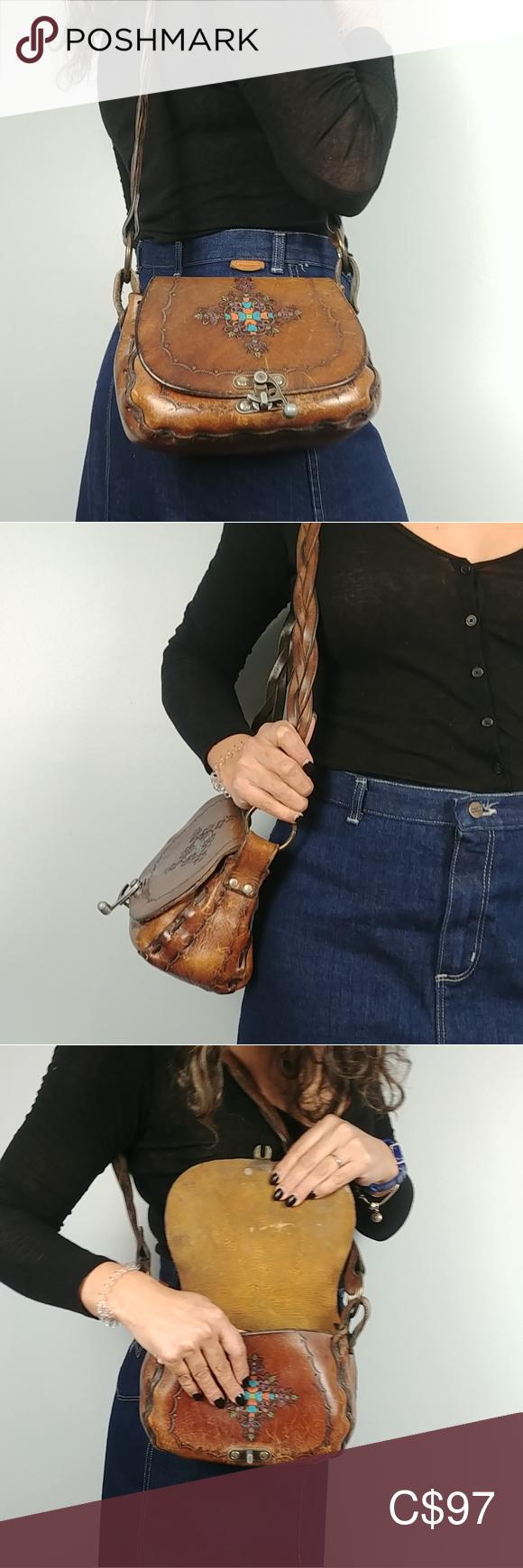 Vintage Hand Tooled Leather Purse #gottahaveit