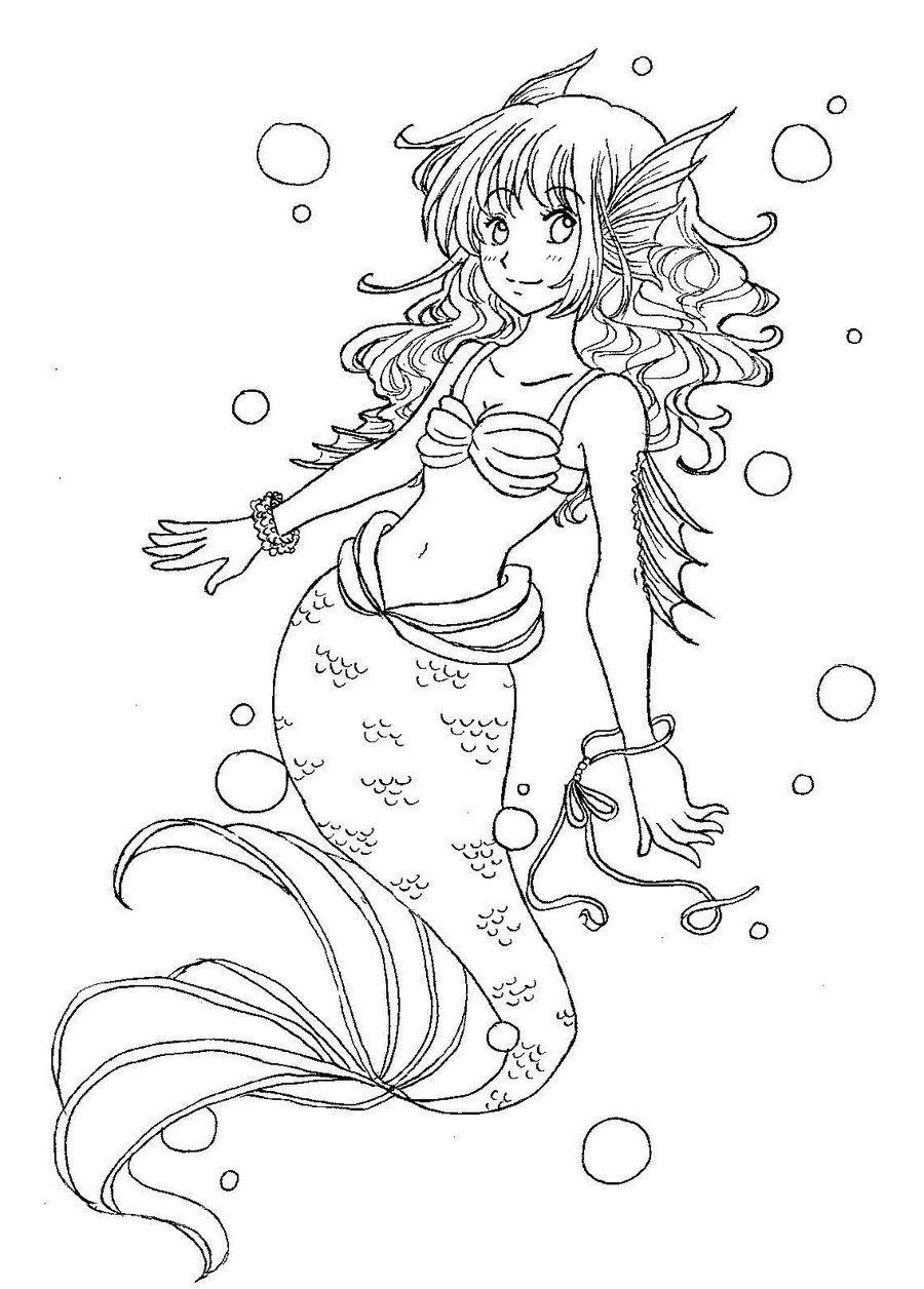 Autumn Mermaid- Line Art by nicolegreen8 on deviantART |Mermaid Line Drawing