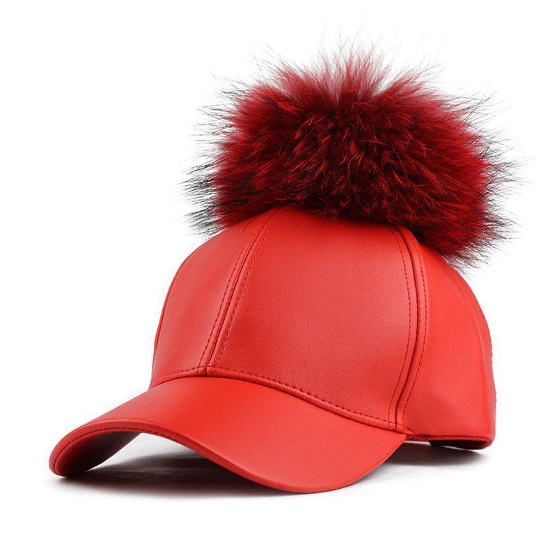 abd36699cf6 Female Cap Real Mink Pom Poms Real Fur Ball Cap Hip Hop Hat Caps ...