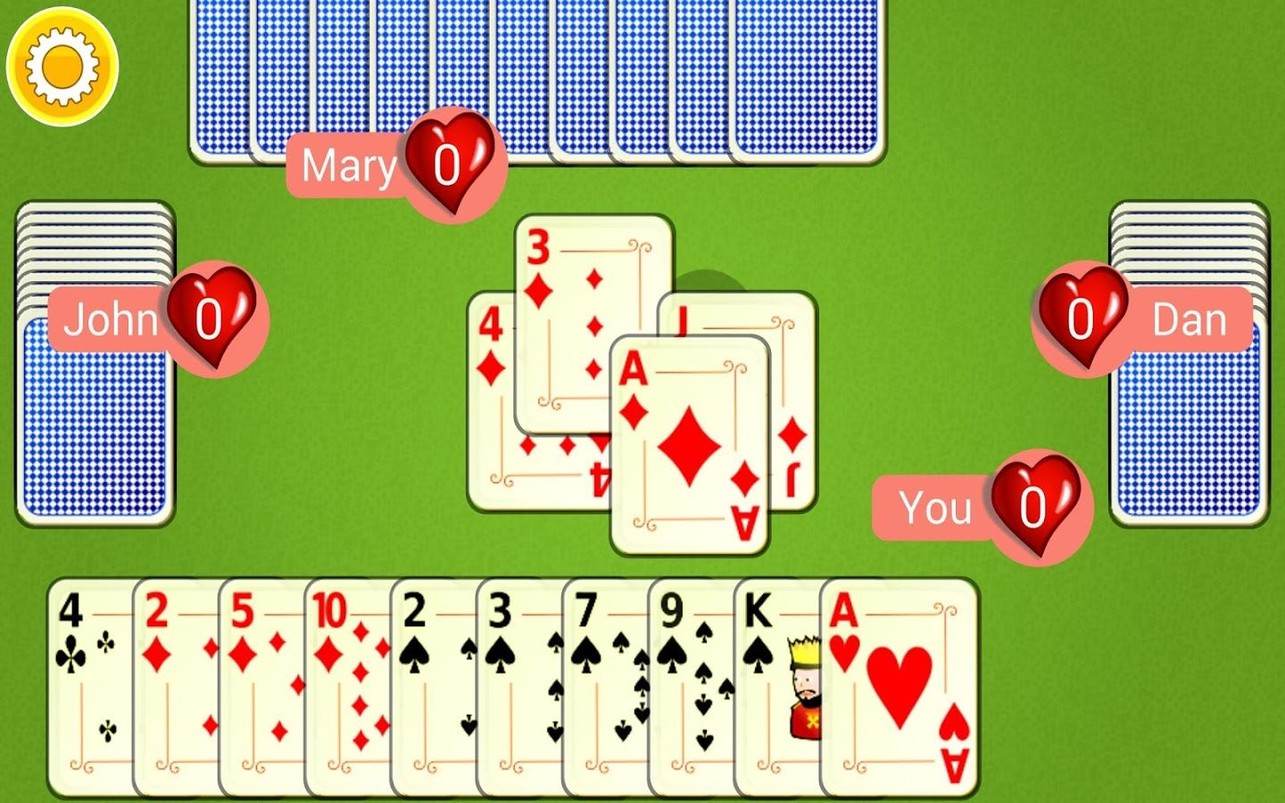Free online hearts play free hearts card game with