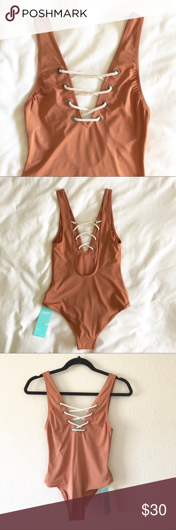 One-Piece Bikini Peachy/nude lace up one piece with low back from H&M. Size 6. Brand new. H&M Swim One Pieces