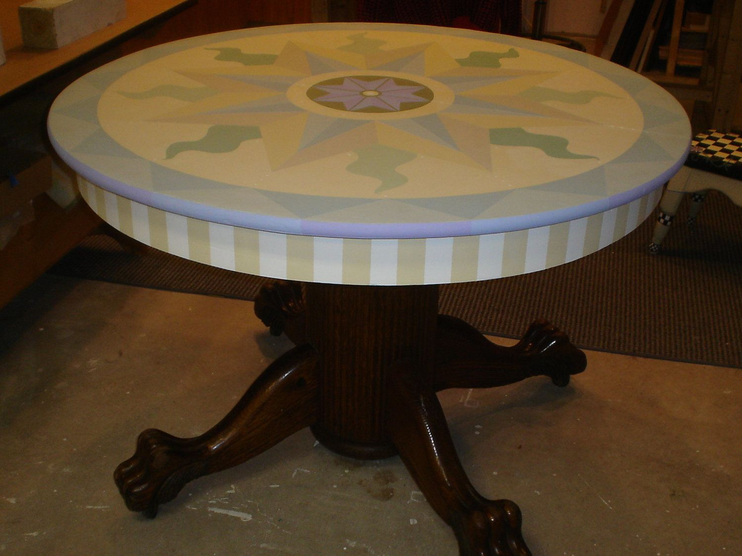 Vintage Oak Claw Foot Round Dining Table With A Painted Top