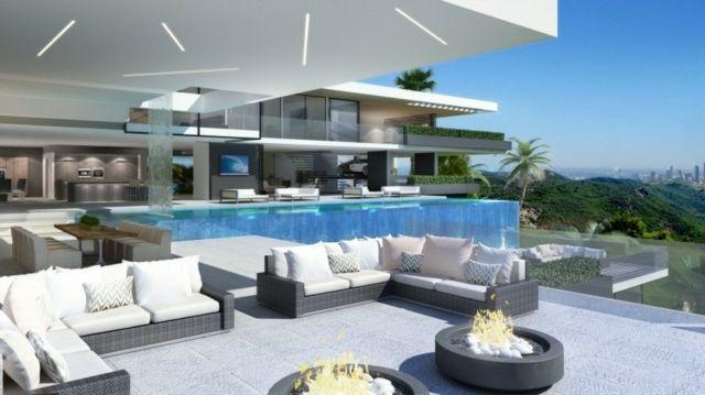 modern minimalistisch Design Pool Haus Feuerstellen   Coole Häuser ...