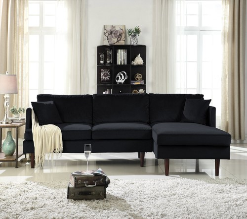 Mid-Century Modern Brush Microfiber Sectional Sofa, L-Shape ...