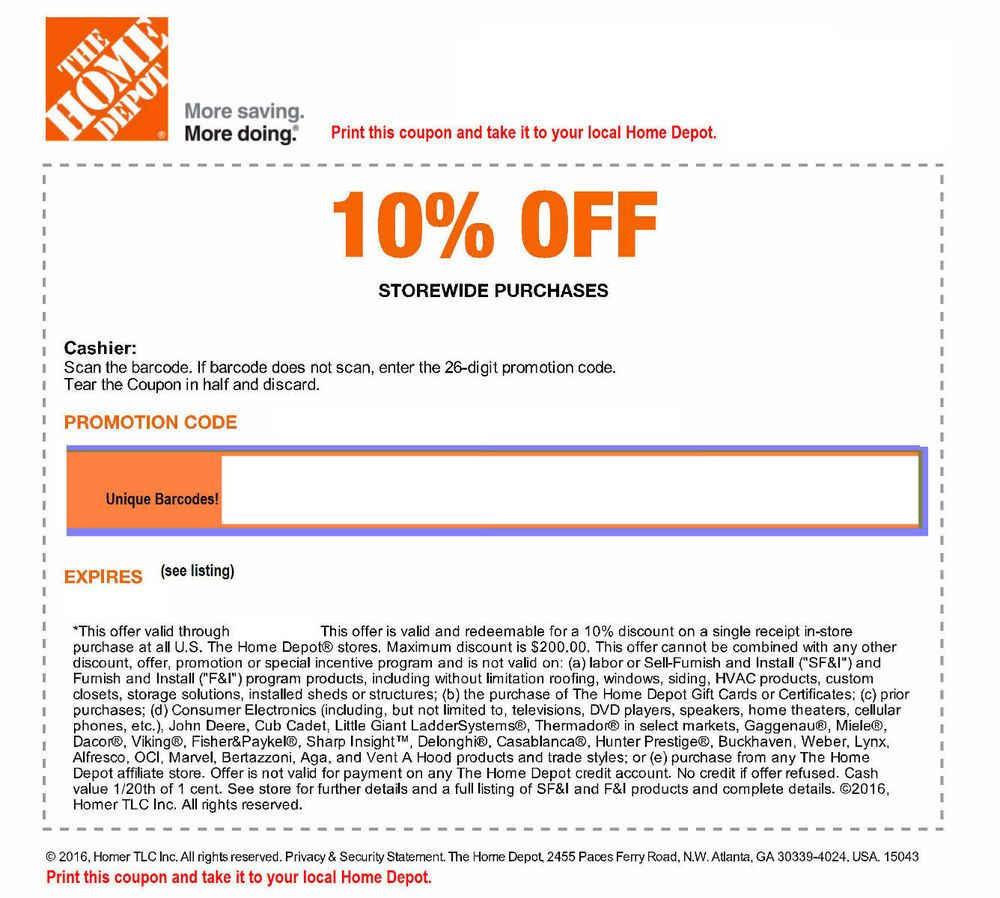 ONE (1x) Home Depot 10% Off-Coupons Save up to $200 In Store