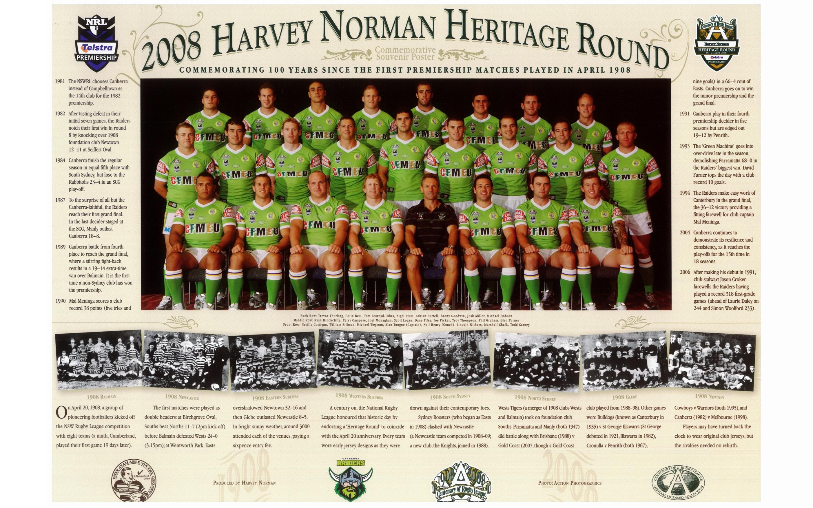 Flashback 2008 Canberra Raiders Team Photo During The Centenary Of Rugby League Who Was Your Favourite Raider From T Raiders Team Team Photos Raiders Players