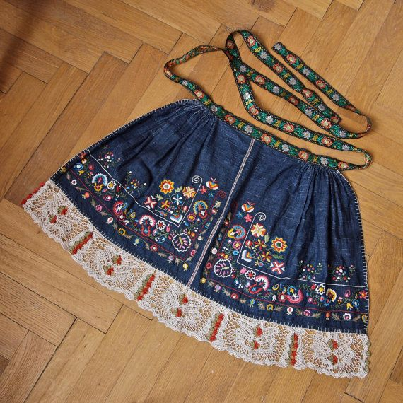 Czech Apron Moravian Hand Embroidered Crocheted by prettyinprague