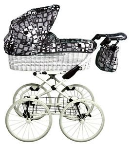 Details about AMANDA RETRO WICKER BABY PRAM CHROME CHASSIS