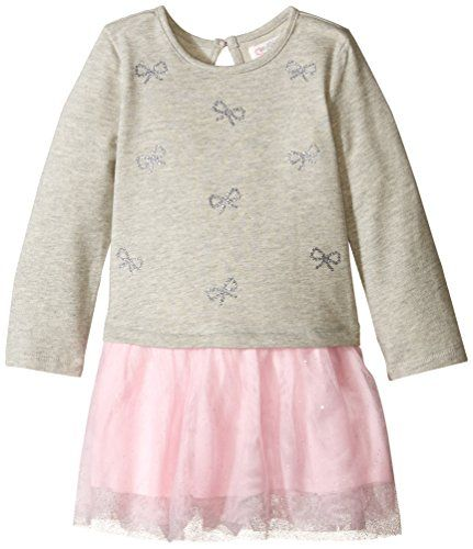 c664c6a3 The Children's Place Little Girls' Long Sleeve Embroidered Bow Glitter Mesh  Dress, Heather Grey