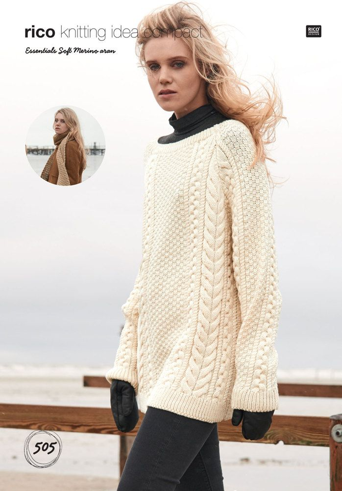 Sweater and Scarf in Rico Essentials Soft Merino Aran - 505 ...