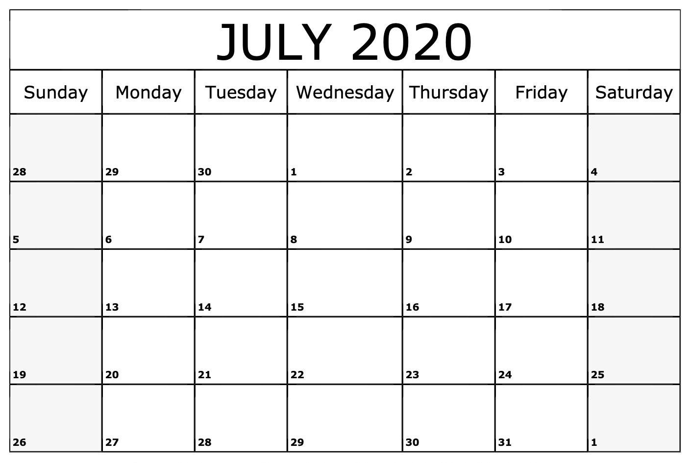 Free July 2020 Printable Calendar July July2020 July2020calendar 2020calendars Julycale July Calendar Monthly Calendar Template Monthly Calendar Printable