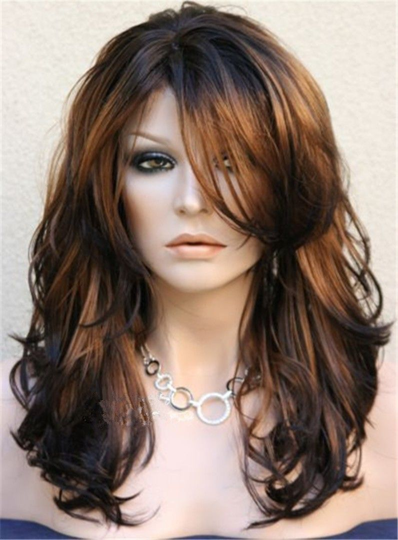 Long Layered Wavy Side Swept Fringes Hairstyle Synthetic Lace Front Wigs 20  Inches | Hair styles, Long layered hair, Long hair styles