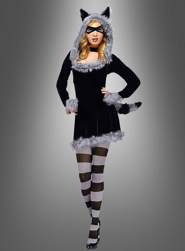 Damen Kostüm Waschbär mit Augenmaske Karneval Fasching Orl