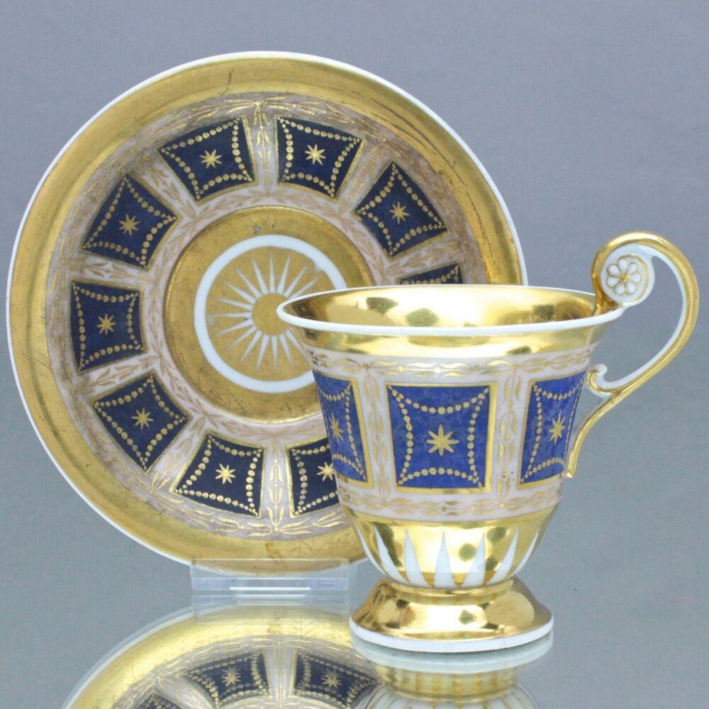 Kpm Berlin Um 1820 Tasse Mit Rosettenhenkel Gold Blau Steinimitat Empire Rosetten Empire Tassen