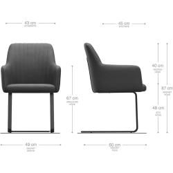 Photo of Delife armchair Greg -Flex beige velvet cantilever chair flat black, dining room chairs DeLifeDeLife