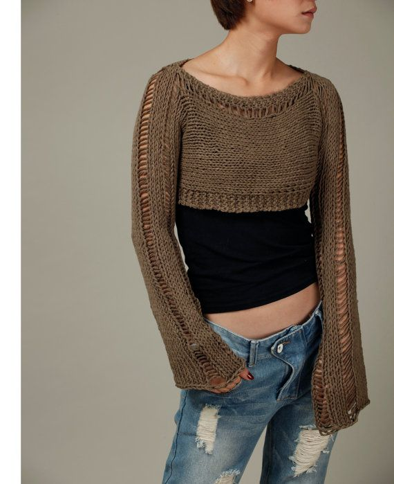 Hand knit sweater, Little shrug, cover up top in Mocha | Dos agujas ...
