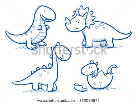 Cute Little Cartoon Dinosaur Babies For Children Hand Drawn