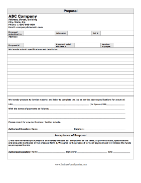 Printable Blank Bid Proposal Forms  Proposal Form Business Form