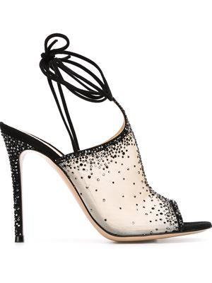 embellished sheer sandals