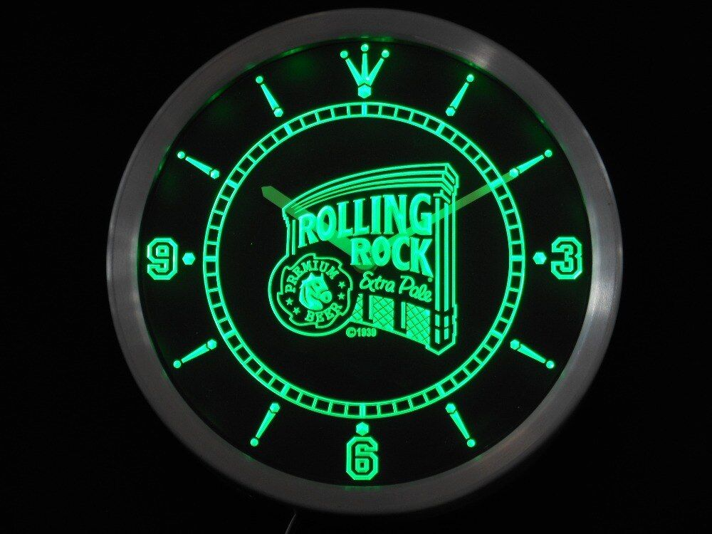 Nc0474 Rolling Rock Beer Neon Sign Led Wall Clock Led Wall Clock Neon Signs Rolling Rock Beer