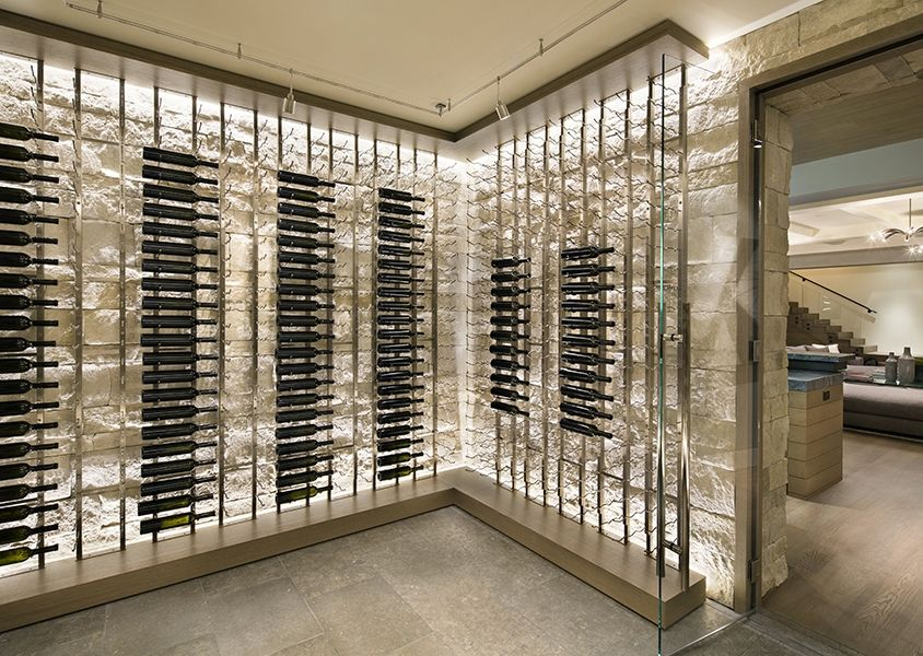 Contemporary minimal wine storage residential arcanum for Cost to build wine cellar