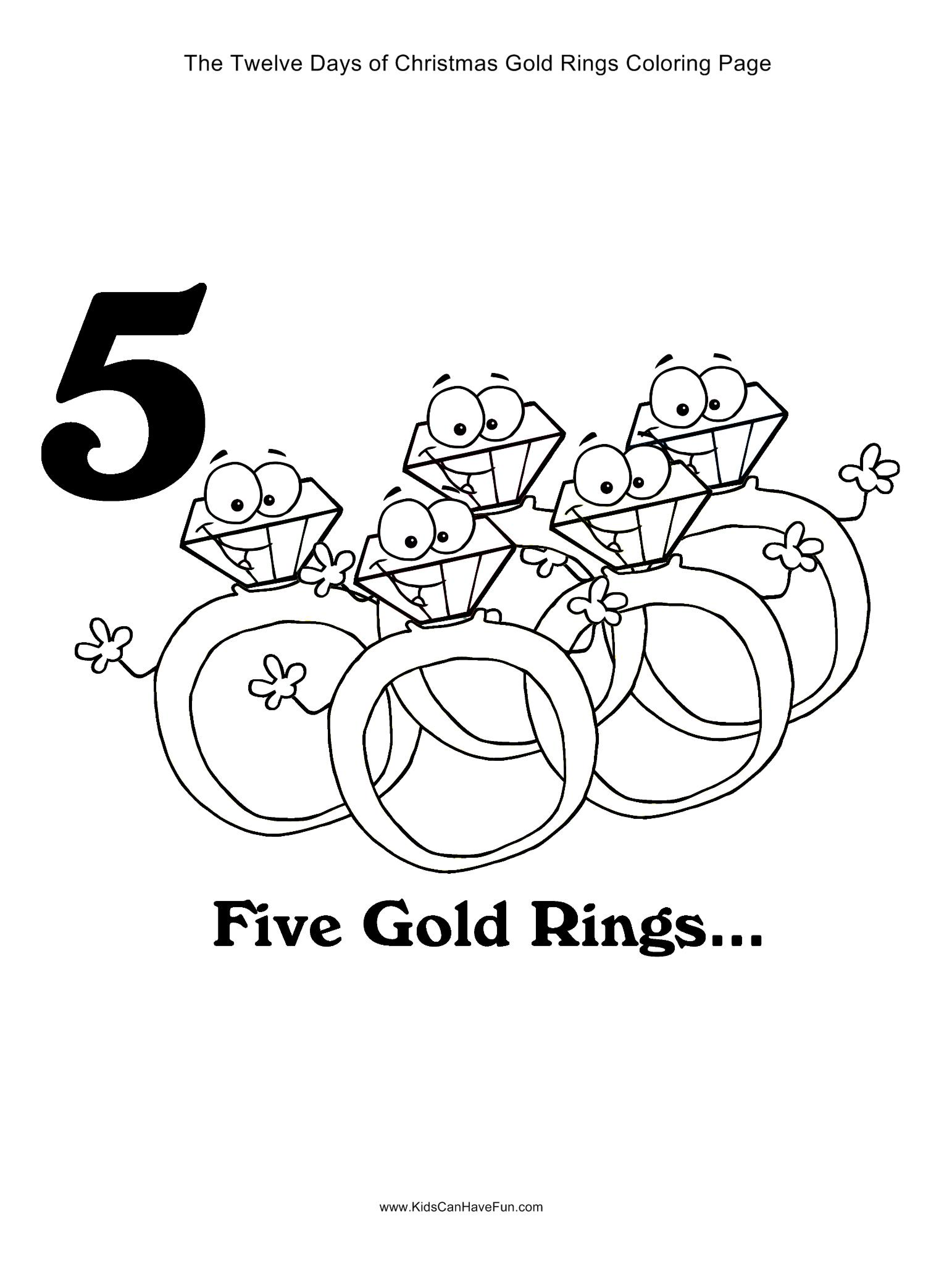 12 Days Of Christmas Five Gold Rings Coloring Page