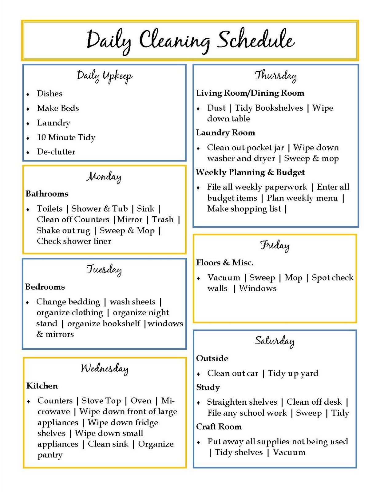 Weekly Cleaning Schedule  Power Productivity Project Aka