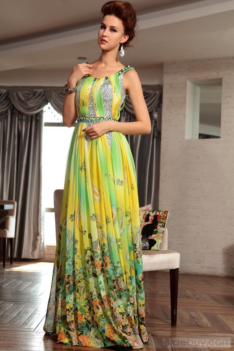 Luxurious pleat bedas floorlength print evening party dress