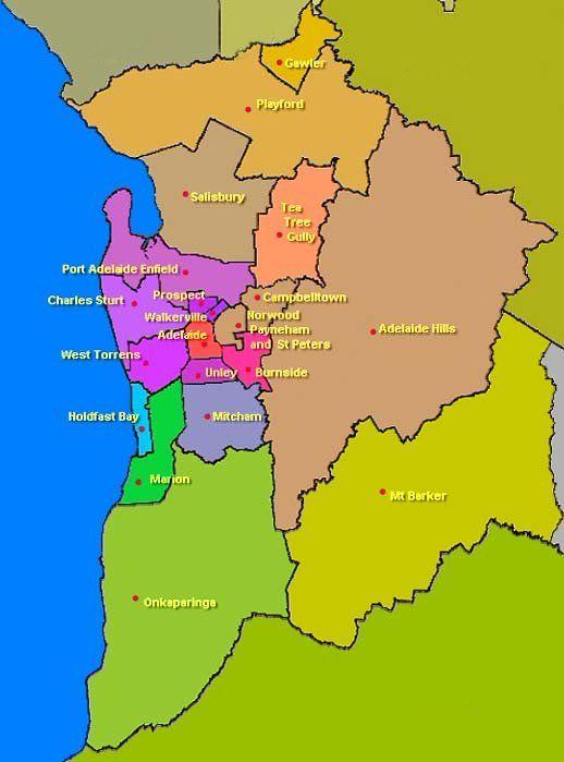 Metropolitan Adelaide Local Government areas Australia Pinterest