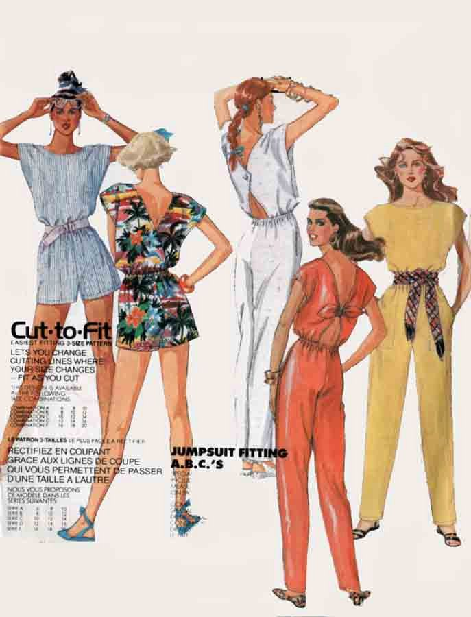 Vintage 80s Jumpsuit Romper Sewing Pattern Cap Sleeve Playsuit w ...