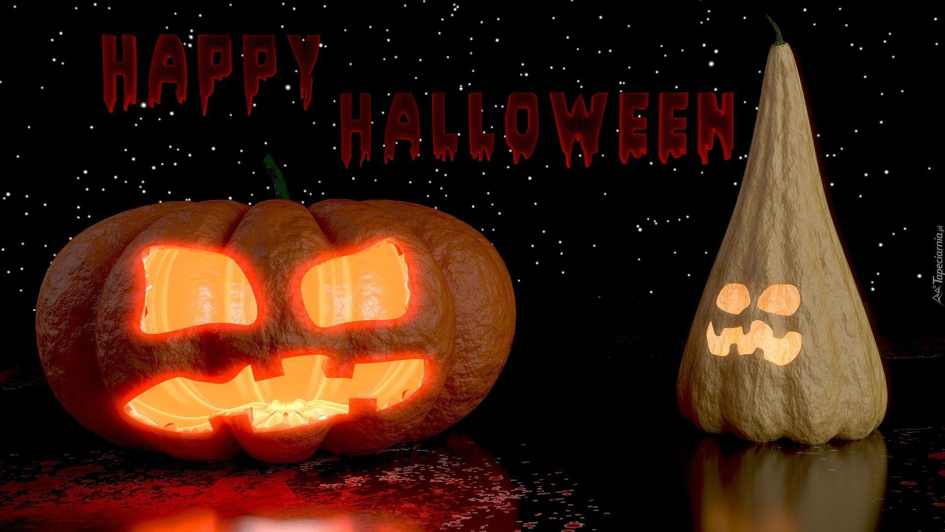 Halloween, Dynie, Świecące, Napis Spooky halloween