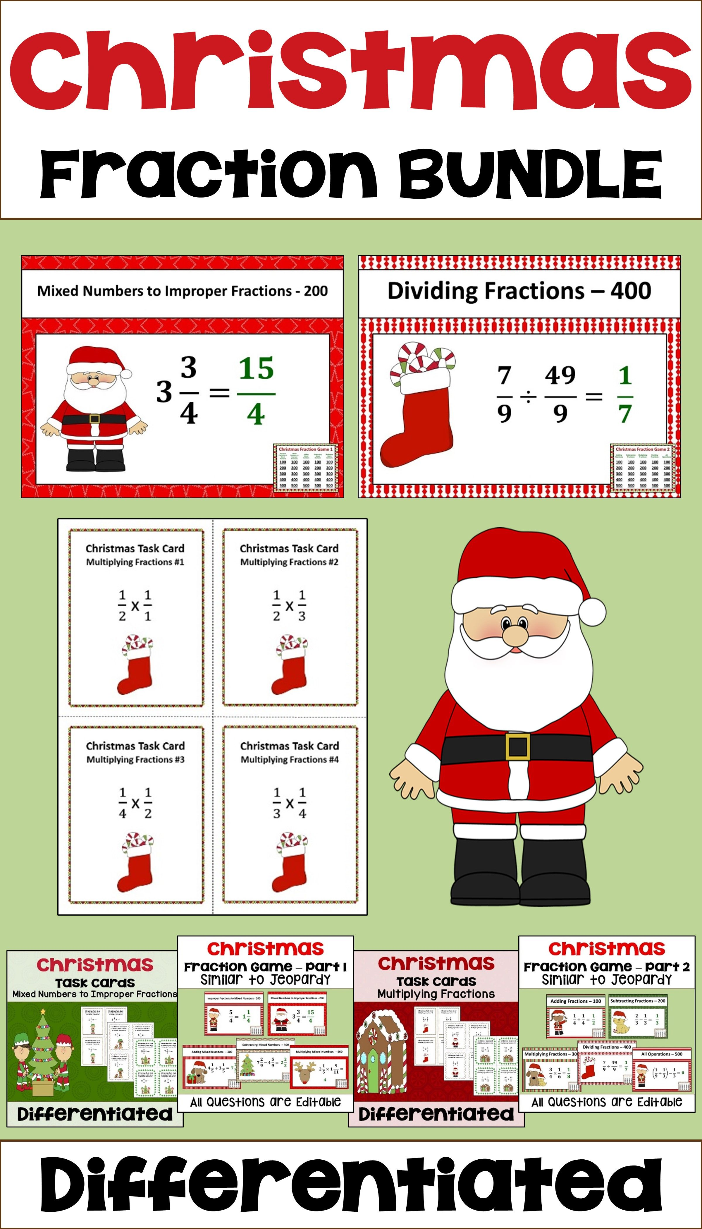 Christmas Fraction Bundle With Task Cards And Games