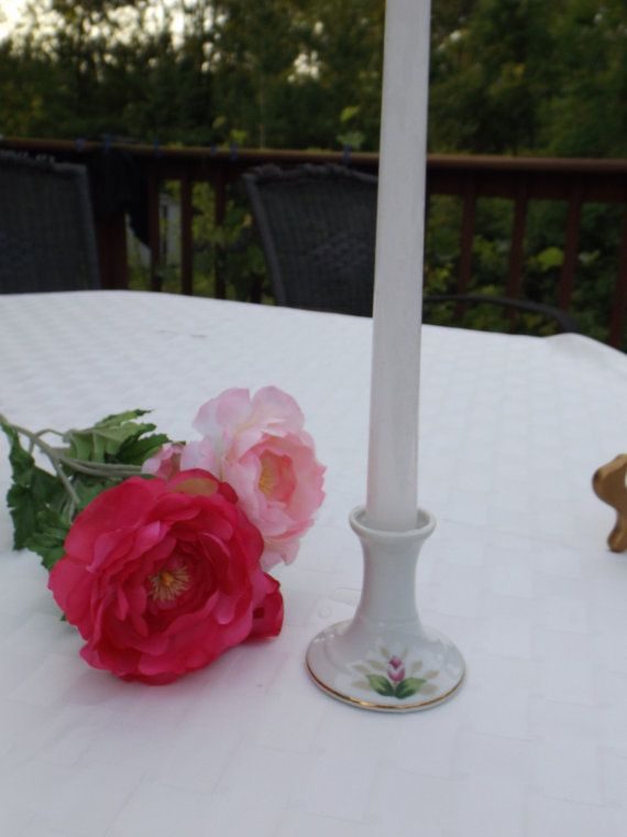 Dresden Garland porcelain  candle holder. by HuntWithJoy on Etsy,