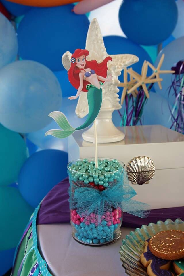 little mermaid centerpiece stick little mermaid daughters birthday in 2019 mermaid party. Black Bedroom Furniture Sets. Home Design Ideas