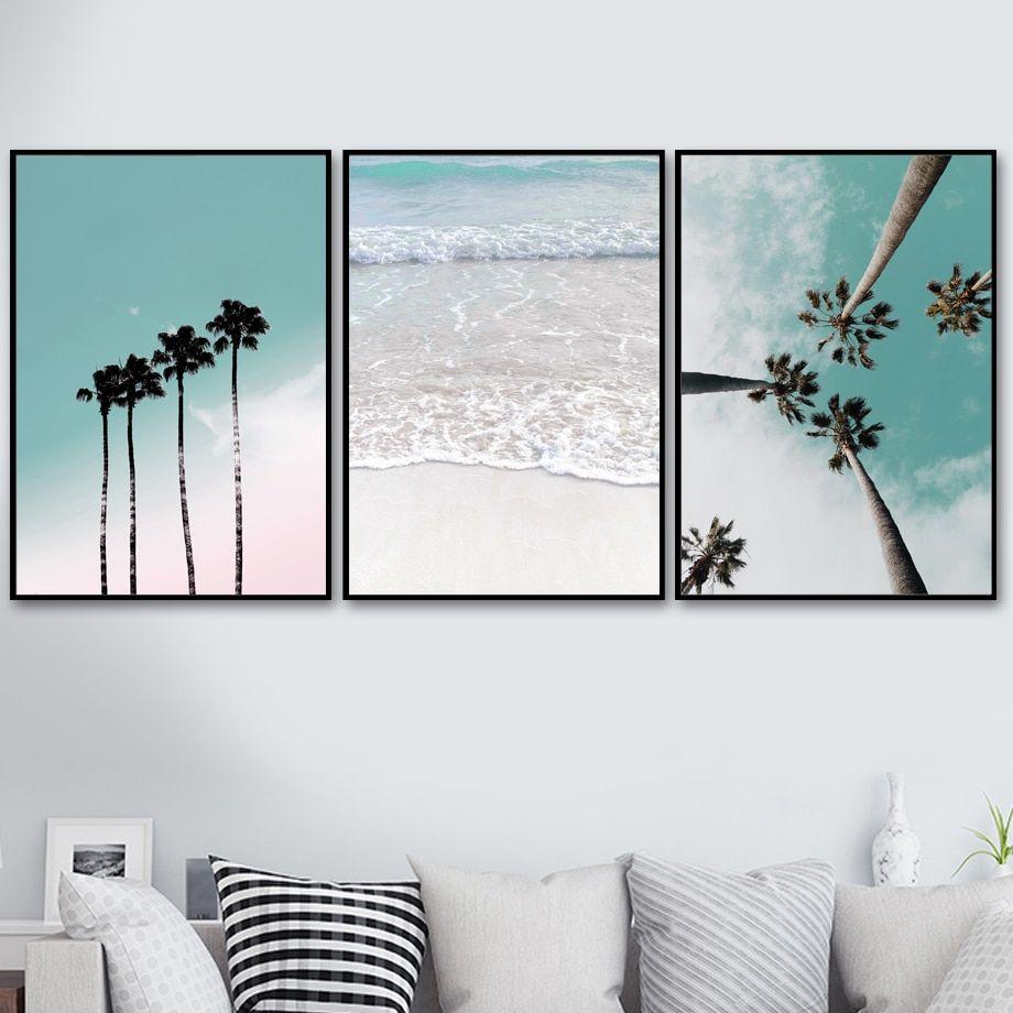 Coconut Palm Tree Pink Beach Sea Umbrella Wall Art Canvas Painting