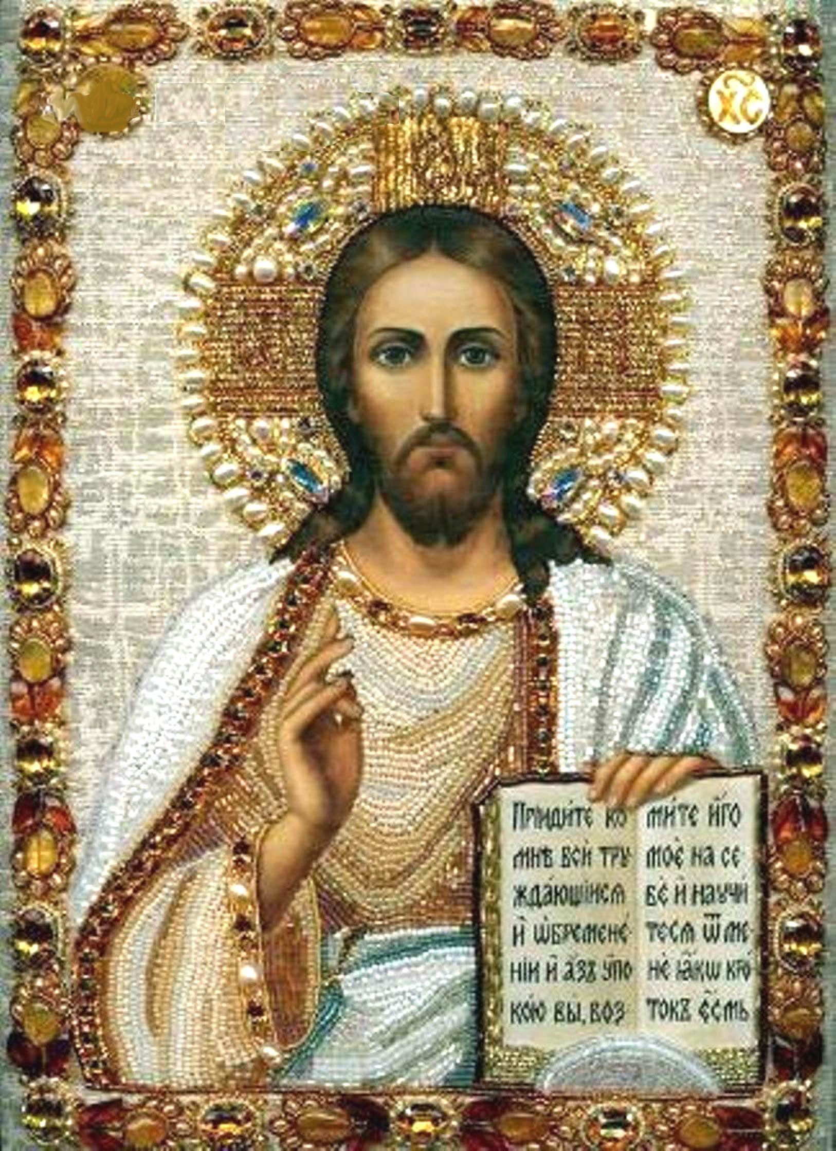 Вышитая камнями икона Спасителя, современное искусство