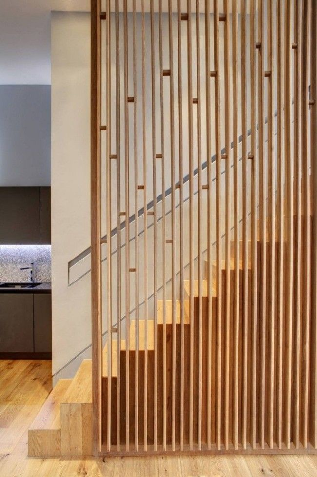 solid stair with screen; recessed hand rail; reveal at flush baseboard #solid