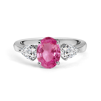 Angara Classic Oval Pink Sapphire and Diamond Three Stone Ring 6L4N1vSuSF