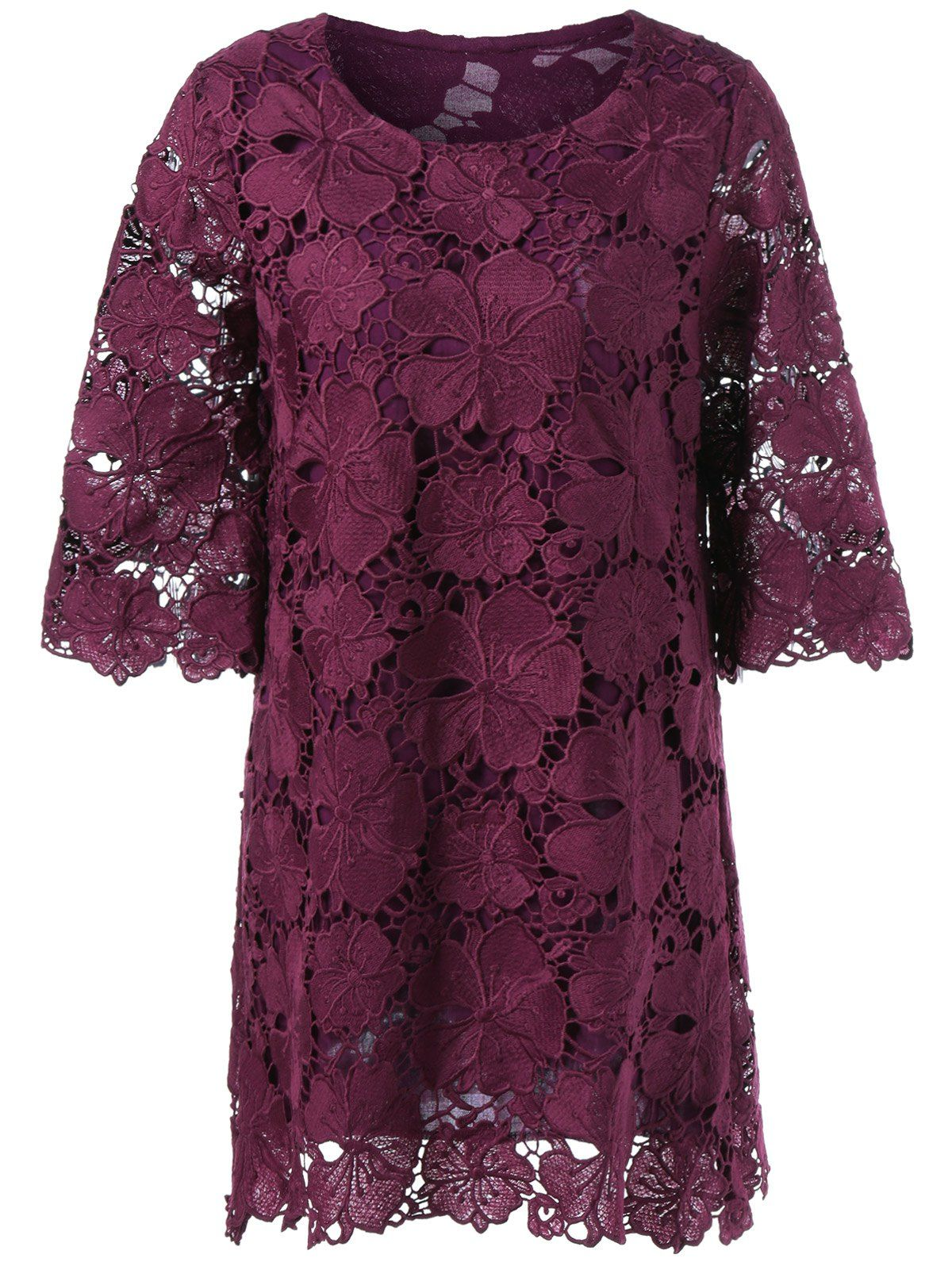4d5b9646268 Floral Lace Overlay Sheer Mini Shift Dress in Dark Red